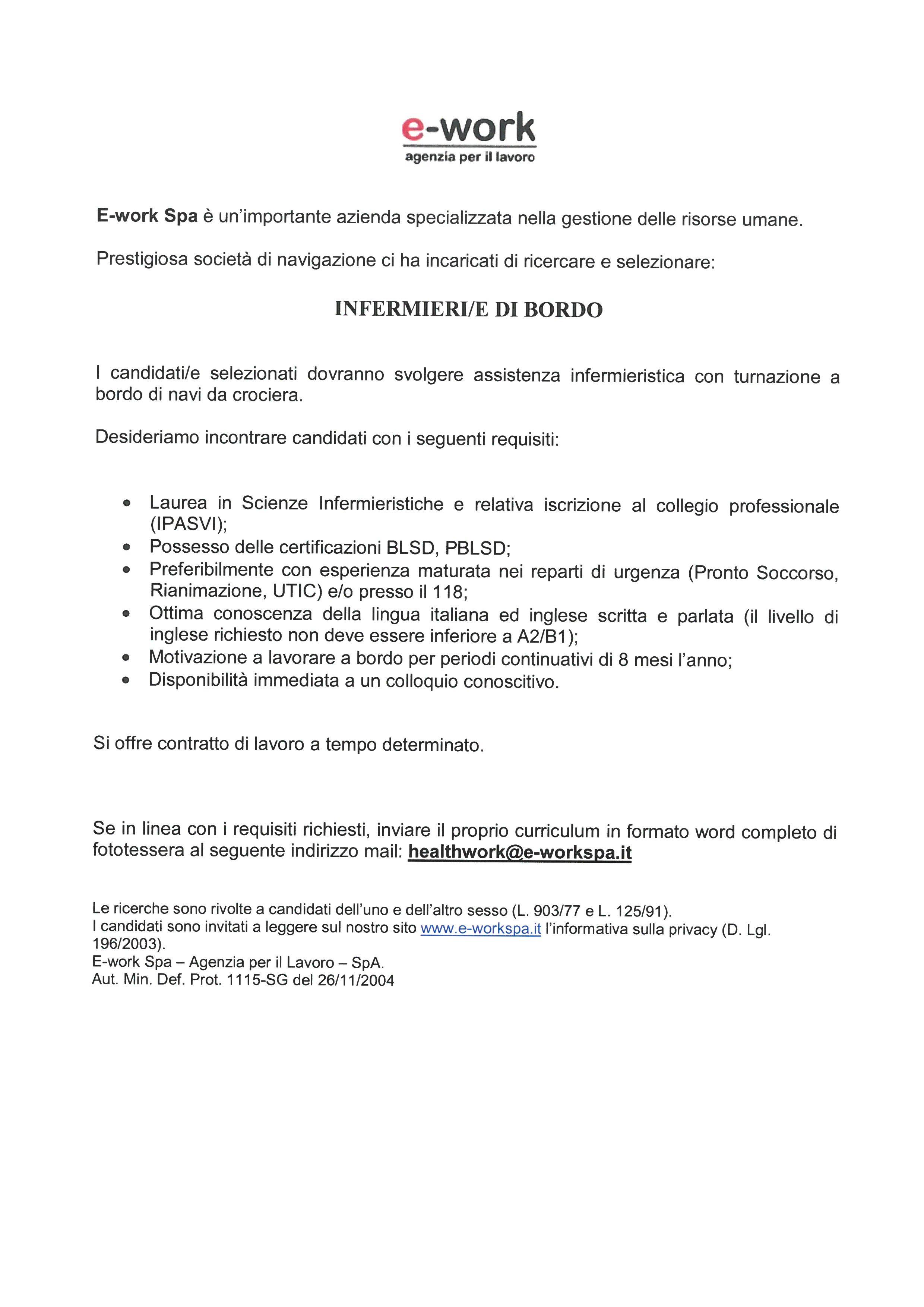 E Work Spa Ricerca Infermieri E Di Bordo OPI Pordenone